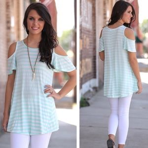 Infinity Raine Tops - 3 for $30 • Mint Striped Cold Shoulder Tunic